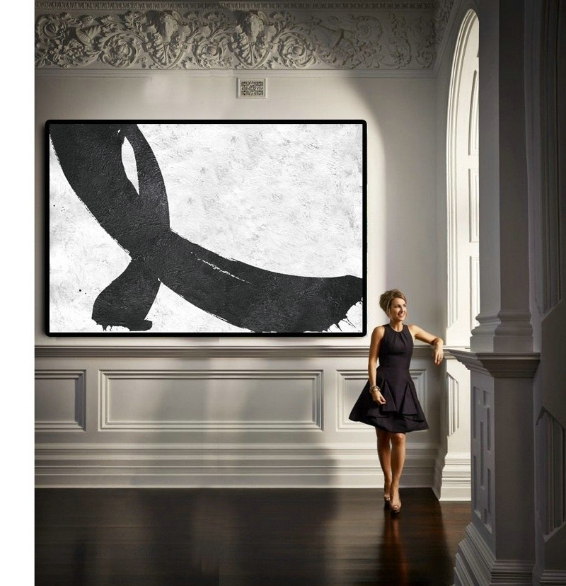 Hand Painted Extra Large Abstract Painting, Horizontal Acrylic Pertaining To Horizontal Abstract Wall Art (View 8 of 15)
