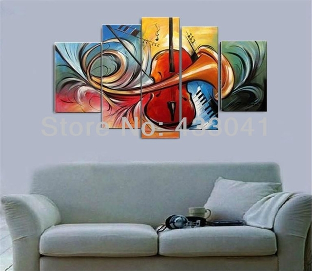 Hand Painted Modern Abstract 5 Piece Set Guitar Speaker Piano Intended For Abstract Piano Wall Art (Image 8 of 15)
