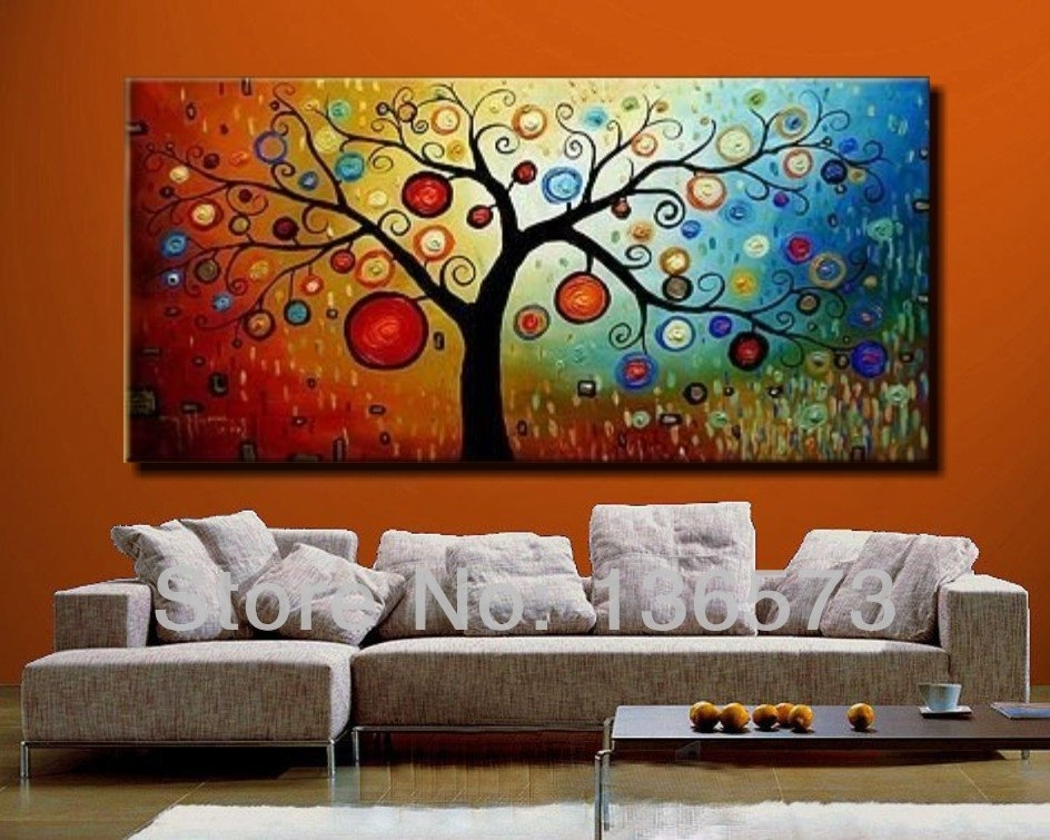 Hand Painted Modern Abstract Money Tree Canvas Wall Art Oil In Happiness Abstract Wall Art (Image 10 of 15)