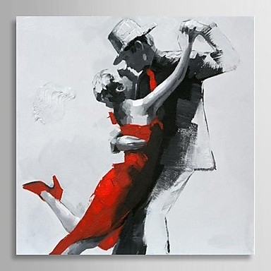 Hand Painted Modern Abstract Oil Painting People Couple Dancing Inside Dance Canvas Wall Art (View 7 of 15)
