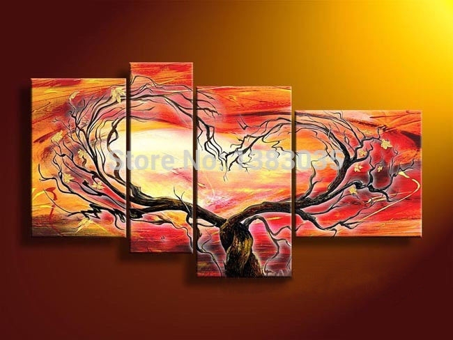 Hand Painted Modern Abstract Oil Paintings On Canvas 4 Piece Heart For Abstract Heart Wall Art (View 6 of 15)
