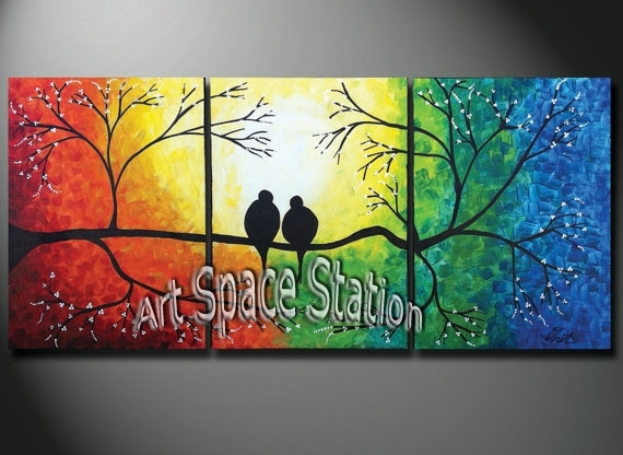 Hand Painted Natural Scenery Painting Tree Of Life,rainbow Love Within Rainbow Canvas Wall Art (Image 4 of 15)