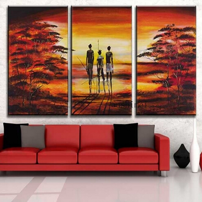 Hand Painted Pictures Abstract India Landscape Oil Painting Wall For India Abstract Wall Art (View 5 of 15)