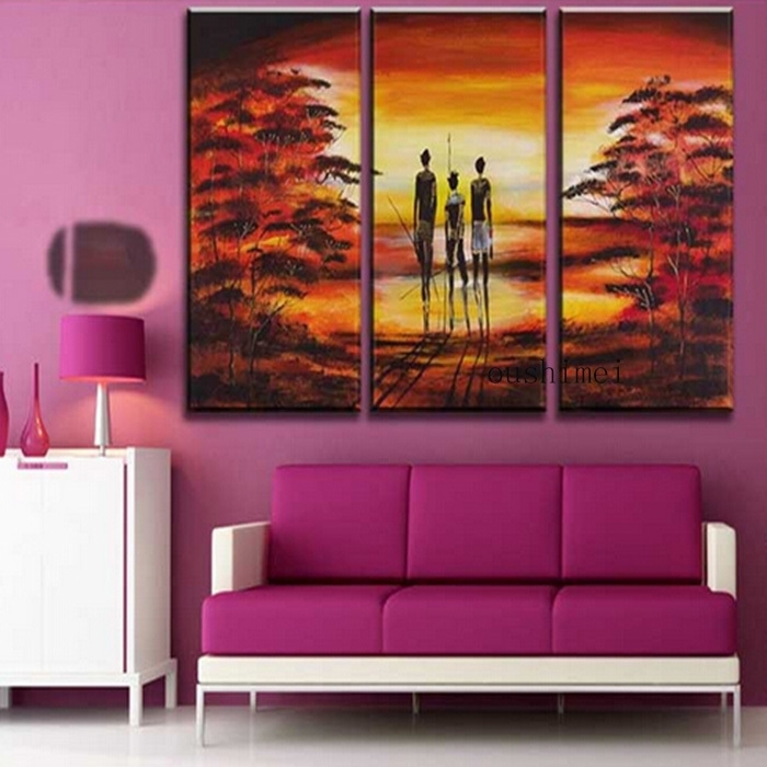 Hand Painted Pictures Abstract India Landscape Oil Painting Wall With India Abstract Wall Art (View 3 of 15)