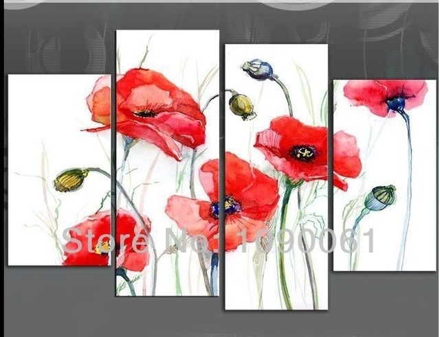 Hand Painted Red Poppies Flowers And Fruits Oil Paintings Modern 4 Throughout Poppies Canvas Wall Art (View 1 of 15)