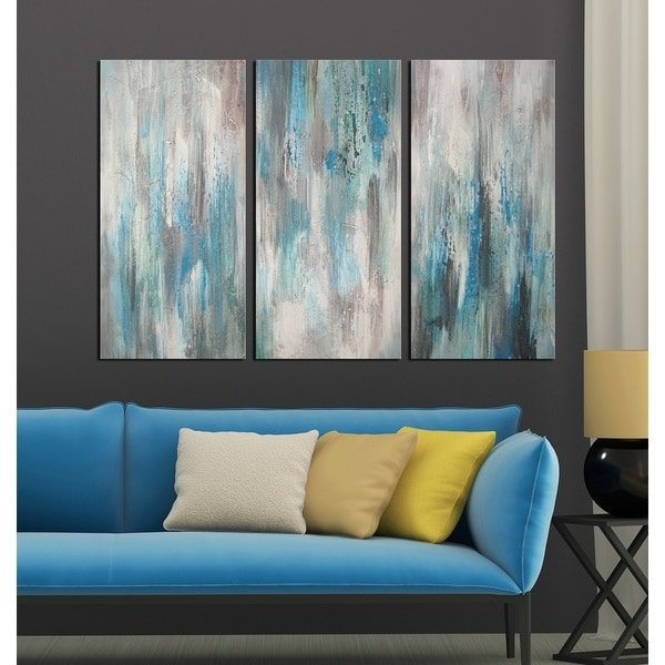 Hand Painted 'sea Of Clarity' 3 Piece Gallery Wrapped Canvas Art Throughout Overstock Abstract Wall Art (Image 7 of 15)