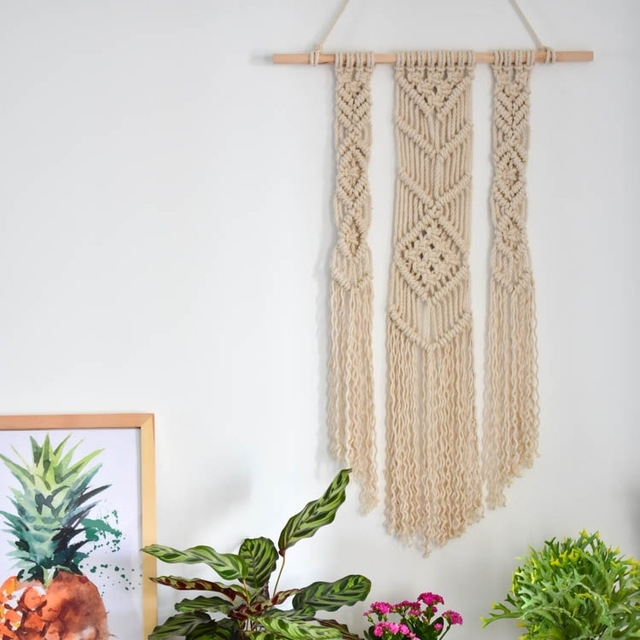 Hand Woven Tapestry Material Wall Hanging Wall Art Handmade Cotton Within Handmade Fabric Wall Art (Image 11 of 15)