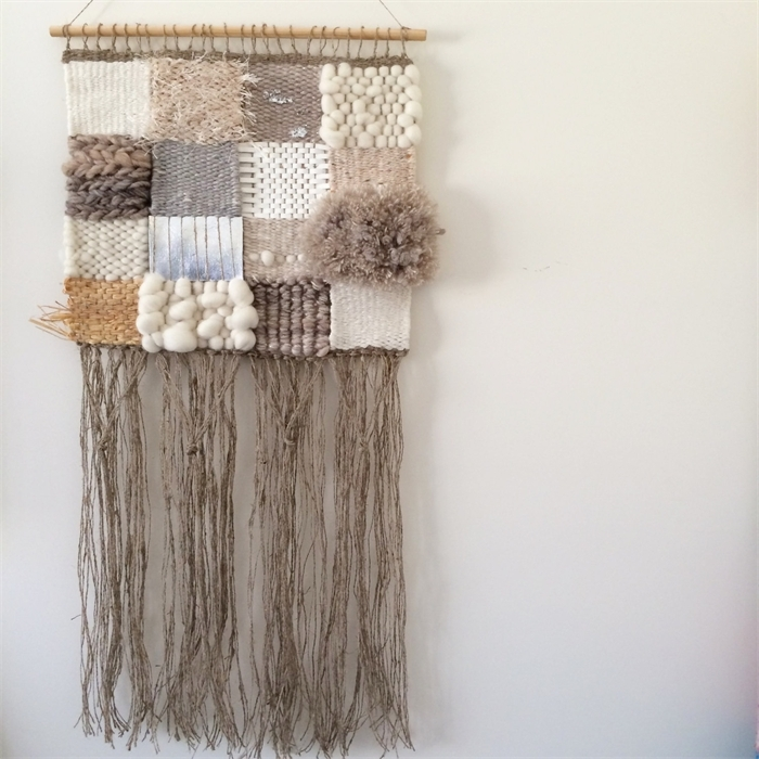 Hand Woven Wall Hanging, Tapestry, Weaving – 'penelope'tat Regarding Woven Fabric Wall Art (Image 6 of 15)