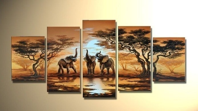 Handmade 5 Piece Modern Decorative Oil Painting On Canvas Wall Art Pertaining To Safari Canvas Wall Art (View 7 of 15)