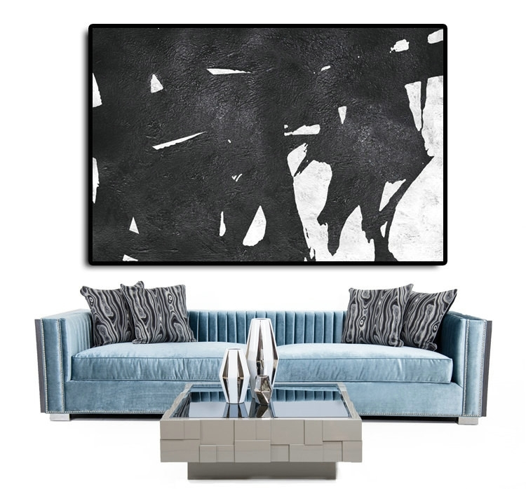 Handmade Extra Large Acrylic Painting On Canvas, Black White In Horizontal Abstract Wall Art (View 11 of 15)