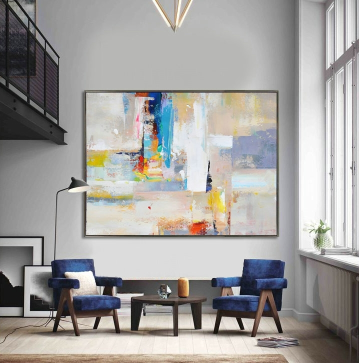 Handmade Extra Large Contemporary Painting, Huge Abstract Canvas Intended For Huge Abstract Wall Art (Image 8 of 15)