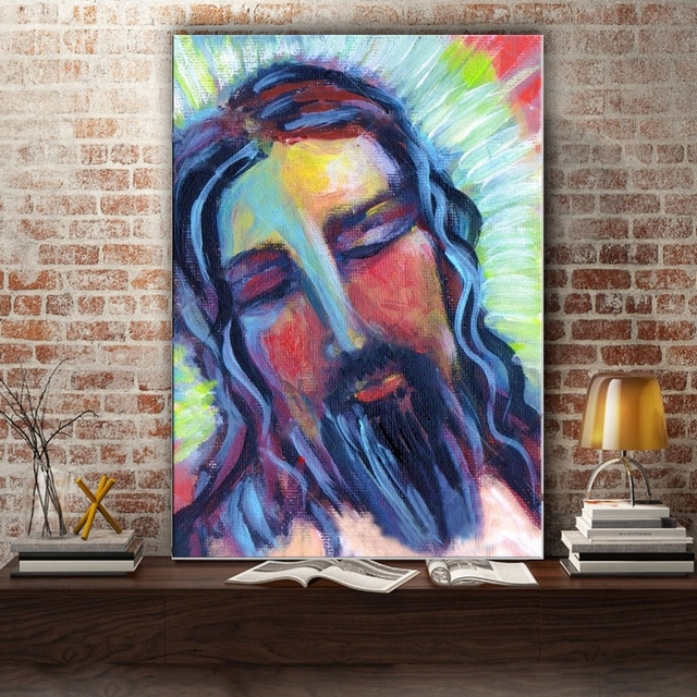Handmade Impression Jesus Canvas Painting Abstract Jesus Figure In Jesus Canvas Wall Art (Image 8 of 15)