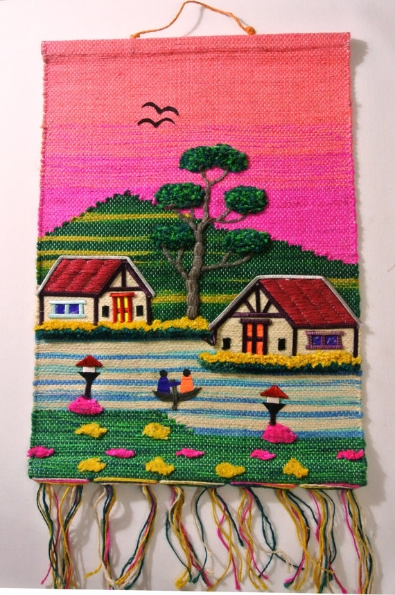 Handmade Jute Cloth Patchwork Wall Hanging Fabric Artwork In Handmade Textile Wall Art (View 7 of 15)
