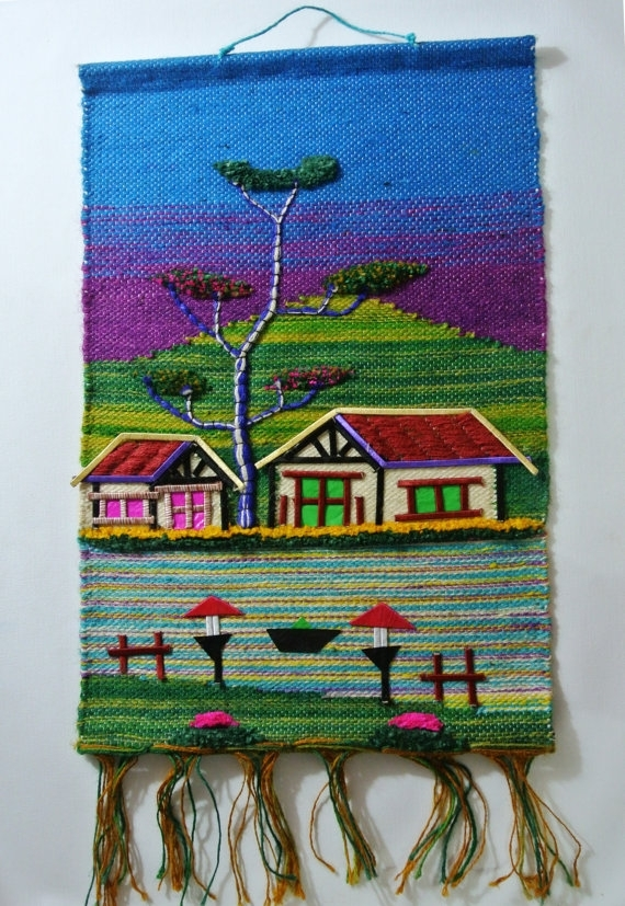 Handmade Jute Cloth Patchwork Wall Hanging Fabric Artwork Regarding Handmade Textile Wall Art (Image 9 of 15)