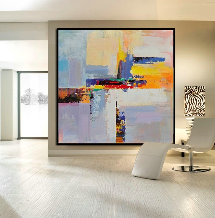 Handmade Large Contemporary Art Canvas Painting, Original Art Throughout Original Abstract Wall Art (View 5 of 15)