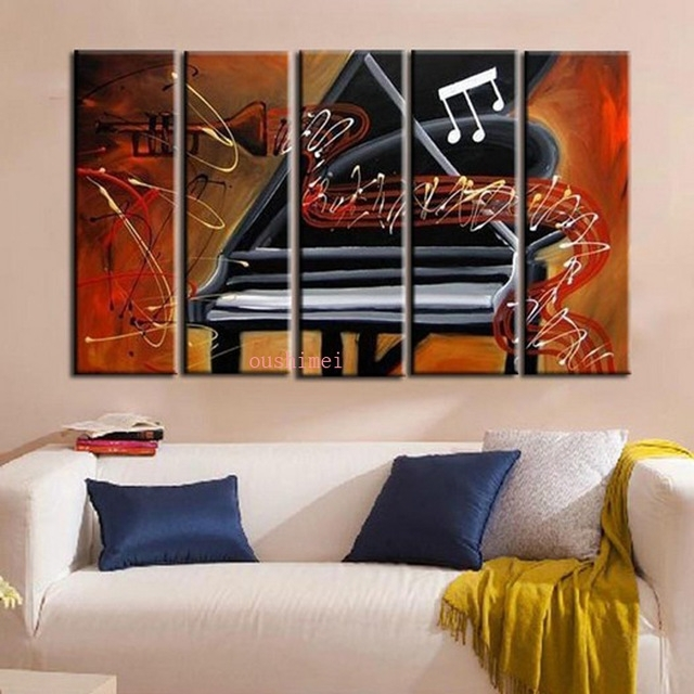 Handmade Picture On Canvas Abstract Music Oil Painting No Frame Pertaining To Abstract Piano Wall Art (Image 10 of 15)