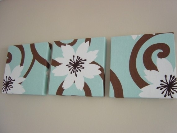 Handmade Set Of 3 Contemporary Flower Duck Egg Blue Chocolate Intended For Blue And Brown Canvas Wall Art (Image 10 of 15)