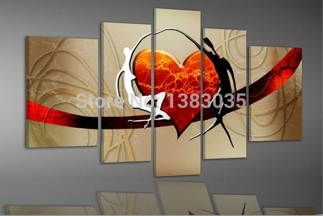 Handmade With Love Wall Painting On Canvas 5 Piece Abstract Heart Within Abstract Heart Wall Art (View 12 of 15)