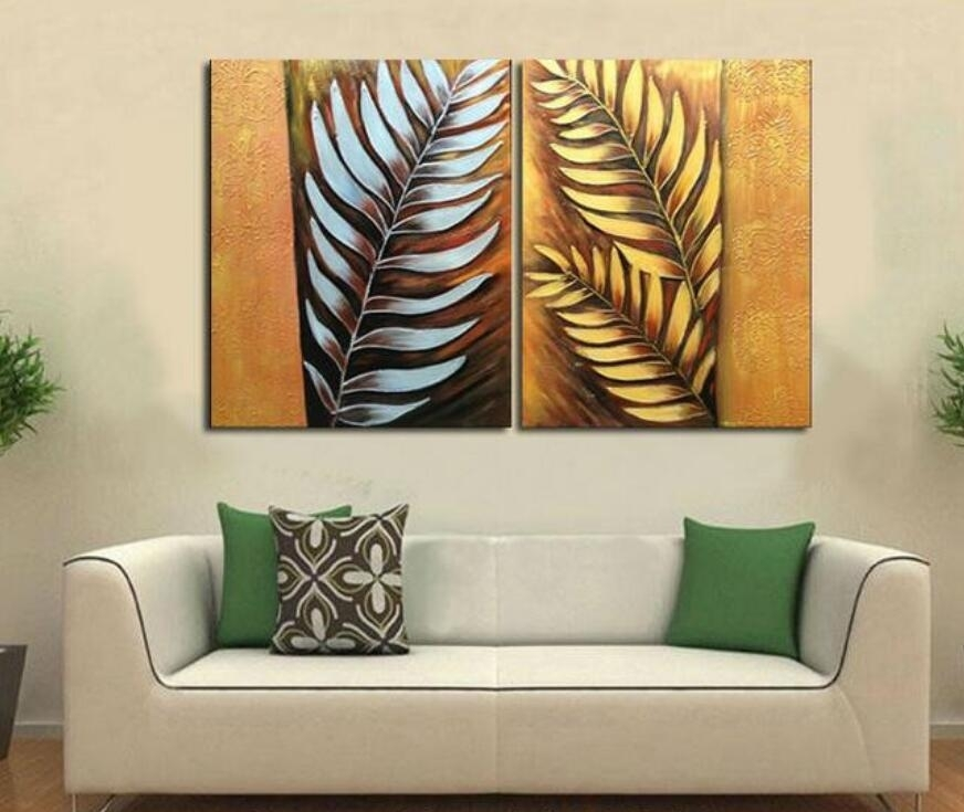 Handpainted 2 Pieces Canvas Art Abstract Metal Wall Silver Tree Regarding Abstract Leaf Metal Wall Art (Image 2 of 15)