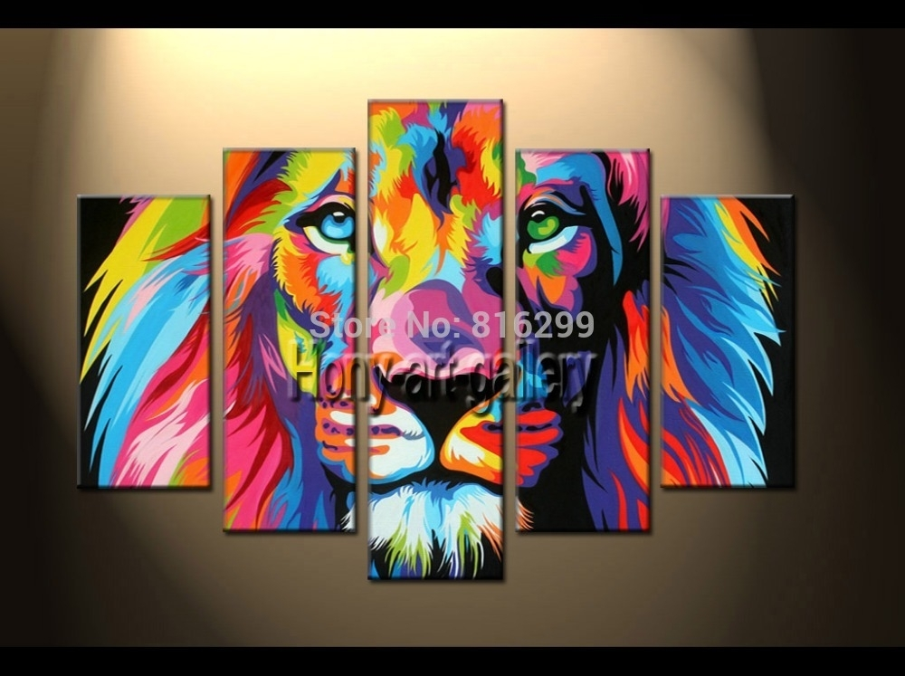 Handpainted Framed 5 Panels Modern Animal Oil Painting On Canvas Pertaining To Lion King Canvas Wall Art (Image 7 of 15)