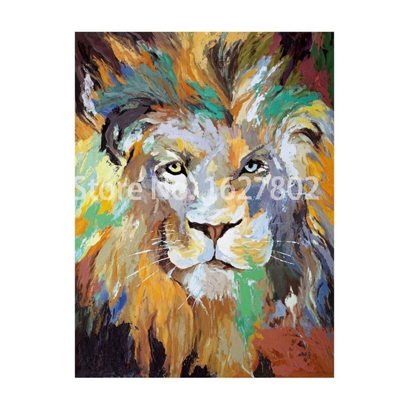Handpainted Modern Abstract Lion Wall Art Oil Painting On Canvas For Abstract Lion Wall Art (Image 10 of 15)