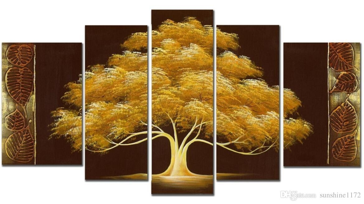 Handpainted Money Tree Oil Paint 5Panels Goldentree Modern Canvas Regarding Hand Painted Canvas Wall Art (View 2 of 15)