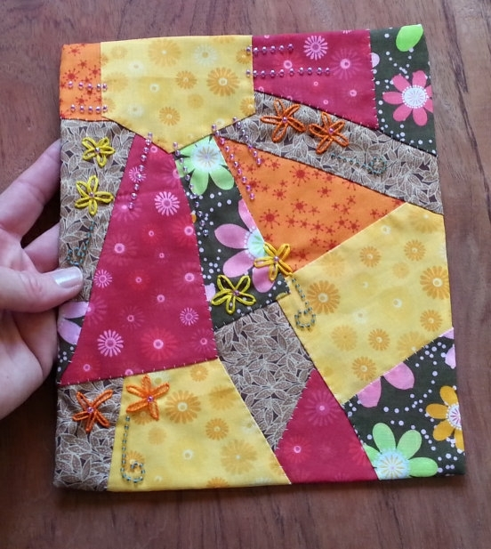 Handsewn Small Quilt Fabric Wall Art Ooak Beads Embellished With Floral Fabric Wall Art (View 5 of 15)