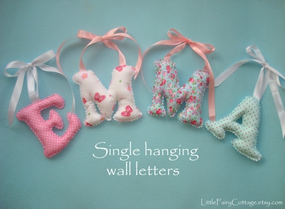 Hanging Letter/s, Shabby Chic Fabric Letters, Girl's Room Name With Regard To Fabric Name Wall Art (View 4 of 15)