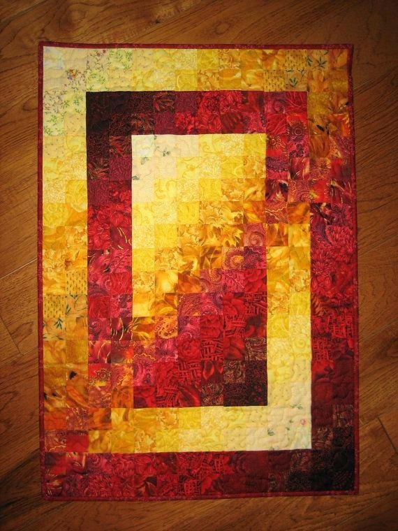 Hanging Quilts On Walls Art Quilt Fire Red Yellow Orange Fabric Within Quilt Fabric Wall Art (Image 12 of 15)