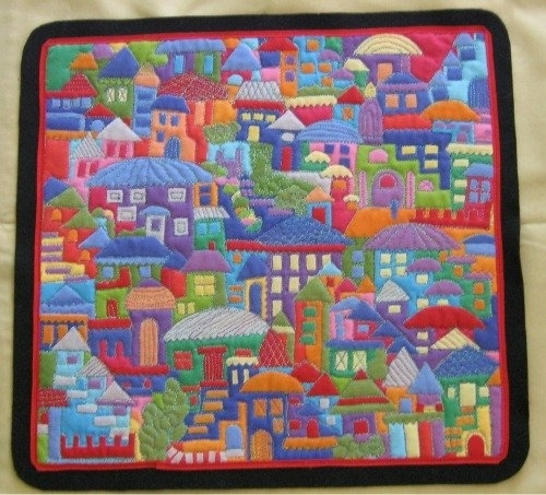Happy Villages Wall Hanging 5 – 9 Pm Inside Fabric Collage Wall Art (View 6 of 15)