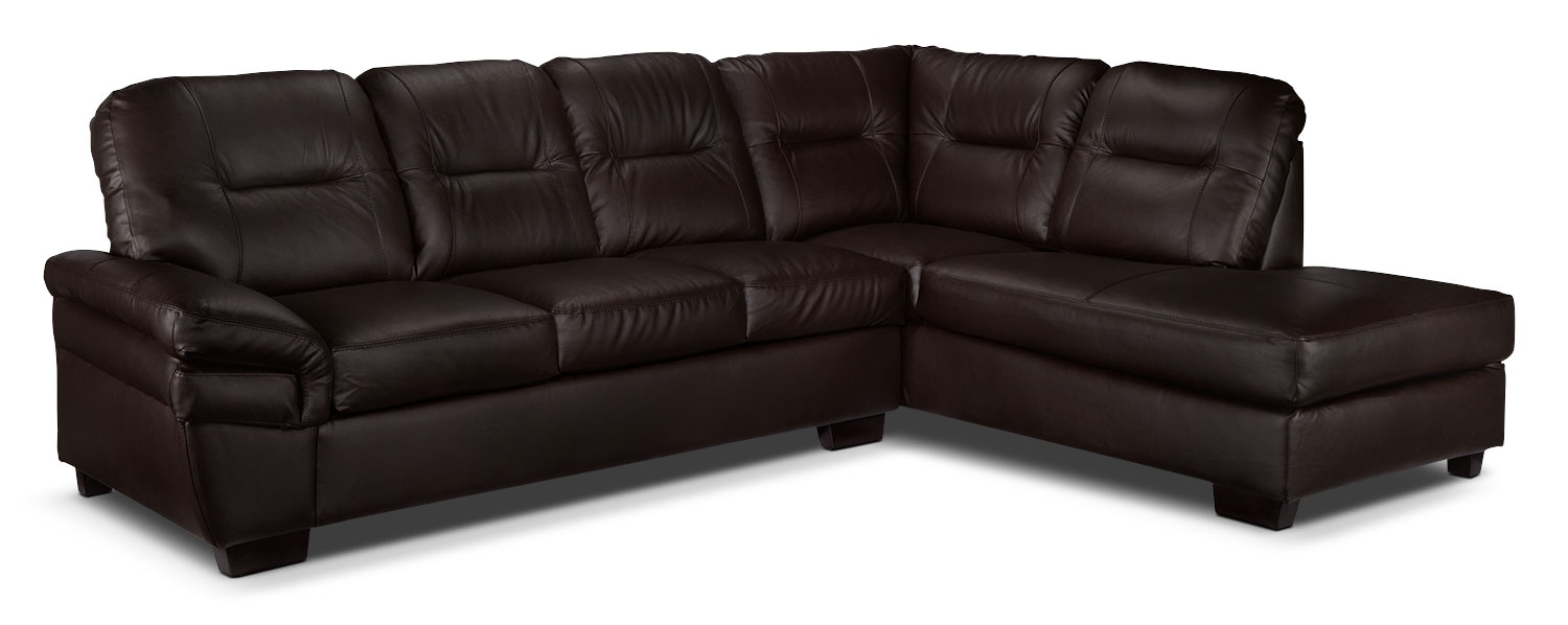 Harper 2 Piece Sectional With Right Facing Chaise – Dark Chocolate Within Leons Sectional Sofas (Image 5 of 10)