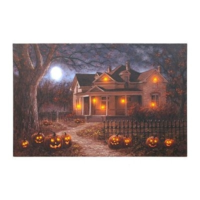 Haunted House Lighted Up Led Canvas Wall Art Halloween Https://www With Halloween Led Canvas Wall Art (View 3 of 15)