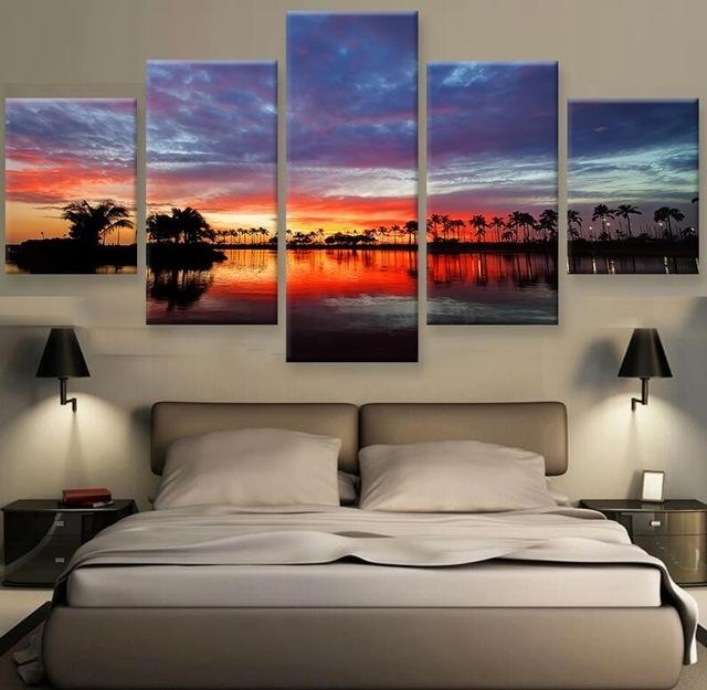 Hawaii Sunset Hd Print Canvas Painting Wall Art 5 Pieces Prints In Hawaii Canvas Wall Art (View 4 of 15)