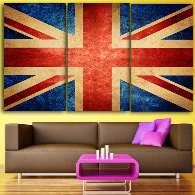 Hd 3 Piece Canvas Wall Art Printed Union Jack Prints Uk Flag For Union Jack Canvas Wall Art (Image 7 of 15)