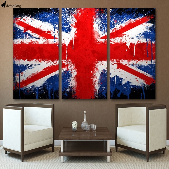 Hd 3 Piece Canvas Wall Art Printed Union Jack Uk Flag Painting For Union Jack Canvas Wall Art (View 9 of 15)