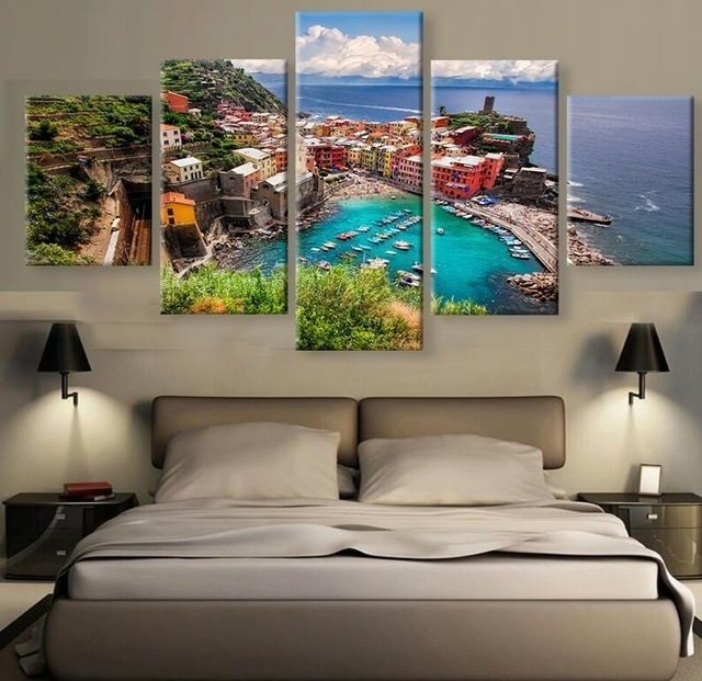 Hd 5 Piece Beautiful Village In Italy Modern For Home Decor With Italy Canvas Wall Art (Image 9 of 15)