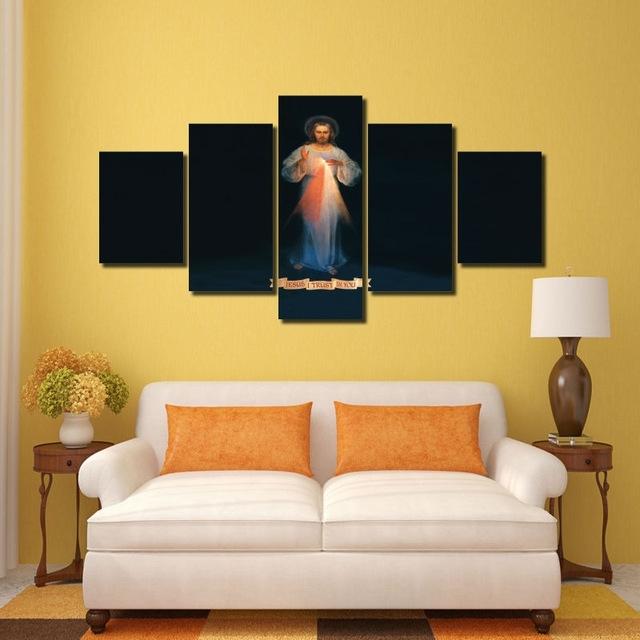 Hd Print 5 Pcs Canvas Wall Art Print Jesus Painting Art Home Decor Throughout Jesus Canvas Wall Art (Image 9 of 15)