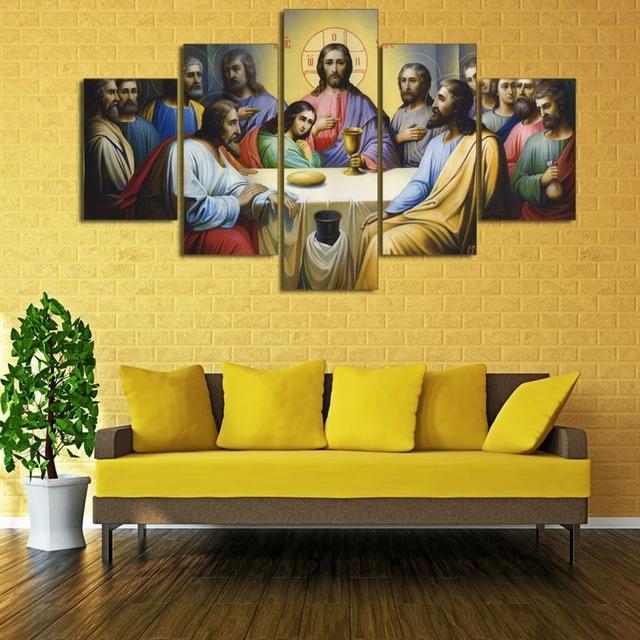 Hd Print 5 Pcs Canvas Wall Art Print Jesus The Last Supper Regarding Jesus Canvas Wall Art (View 9 of 15)