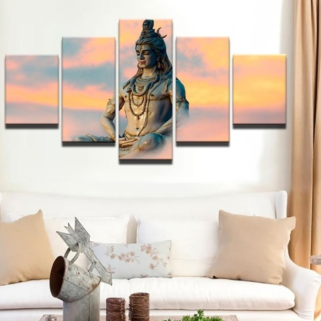 Hd Print 5Pcs Canvas Wall Art Shiva India Lord Religion Buddha Regarding India Canvas Wall Art (View 14 of 15)