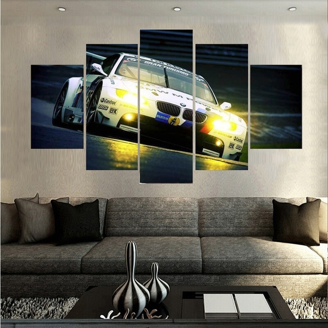 Hd Print 5Pieces New Style Bmw Spuer Sports Car Canvas Painting For Bmw Canvas Wall Art (Image 7 of 15)