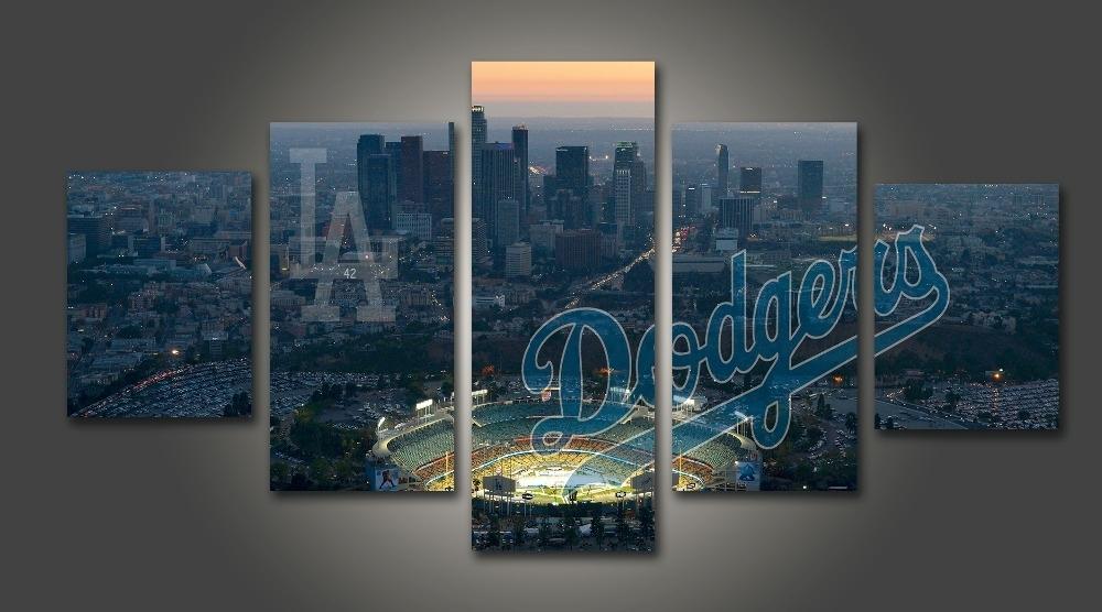 Hd Print Baseball Los Angeles Dodgers Fans Painting On Canvas Wall In Los Angeles Canvas Wall Art (Image 10 of 15)