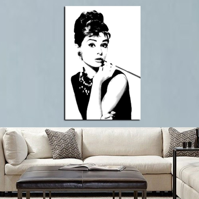 Hd Print Black With White Audrey Hepburn Portrait On Canvas Wall With Regard To Portrait Canvas Wall Art (View 5 of 15)