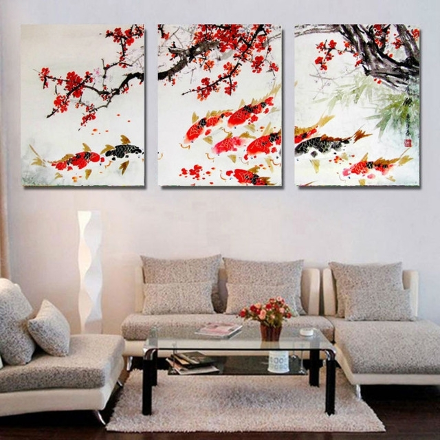 Hd Print Cherry Blossom Koi Fish Painting Canvas Wall Art Prictue Pertaining To Koi Canvas Wall Art (View 13 of 15)