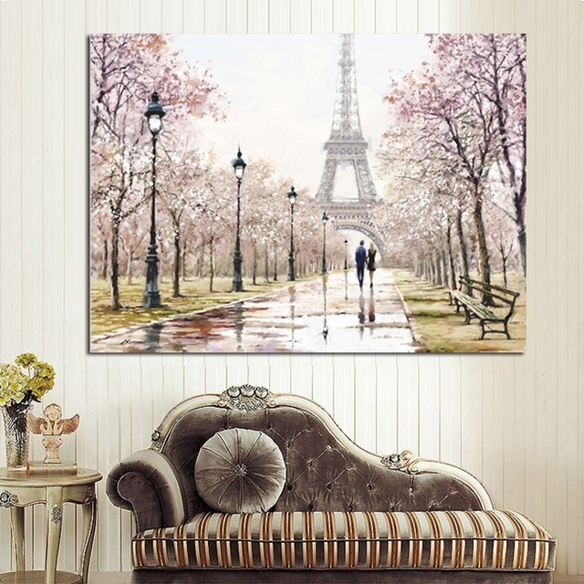 Hd Print Romantic City Couple Paris Eiffel Tower Landscape Regarding Canvas Wall Art Of Paris (Image 3 of 15)