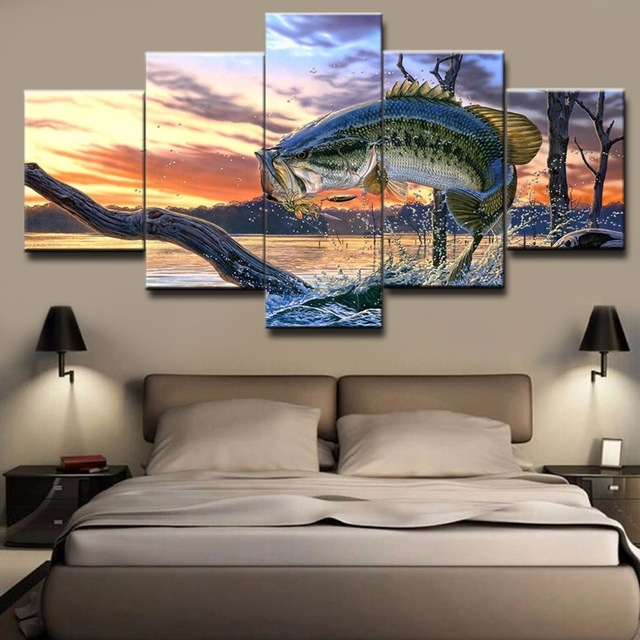 Hd Printed Wall Canvas Pictures Art Modern Frame 5 Panel Bass With Jump Canvas Wall Art (View 9 of 15)