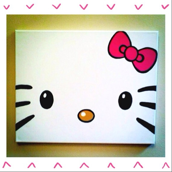 Hello Kitty Painted Canvasmbellaboutique On Etsy, $ (View 4 of 15)