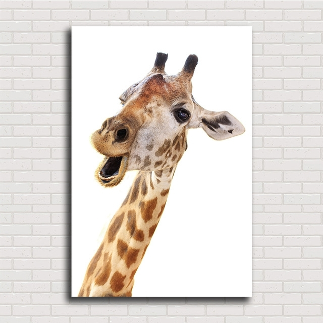 High Quality Loving Animal Canvas Framelss Oil Painting Cute Within Giraffe Canvas Wall Art (View 2 of 15)