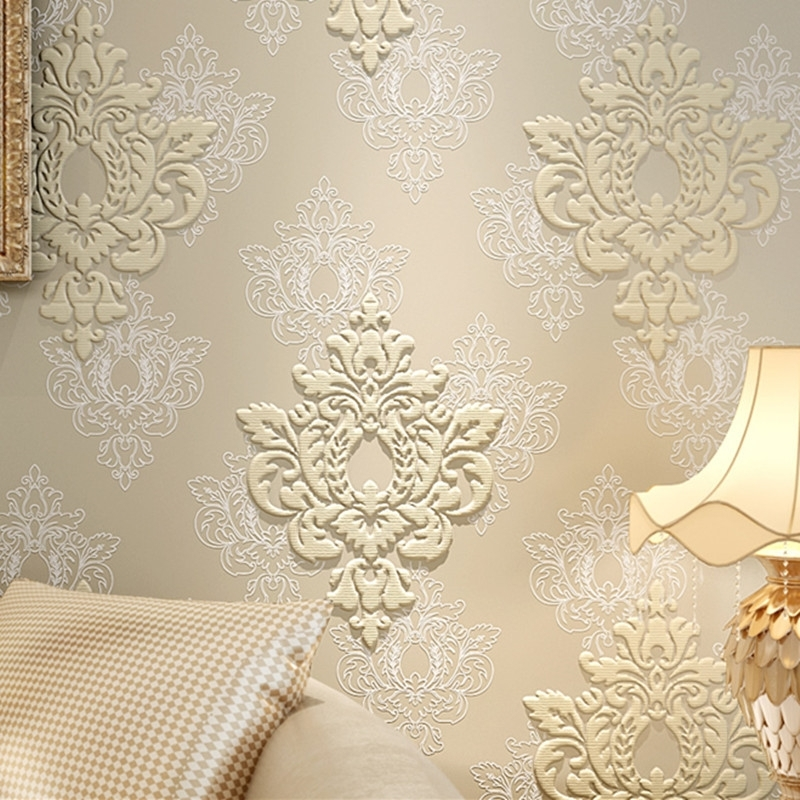 High Quality Luxury 3D Damask Wallpaper Fabric Embossed Wall Paper Within Damask Fabric Wall Art (Image 9 of 15)