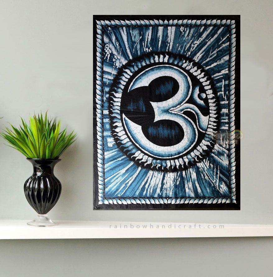 Hindu Holy Symbol Om Aum Ohm Batik Fabric Painting Wall Hanging With Batik Fabric Wall Art (Image 9 of 15)
