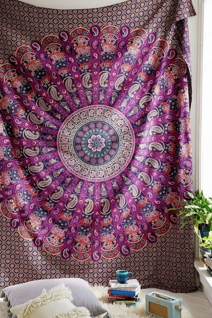 Hippie Mandala Tapestry 100% Cotton Hand Block Print Indian Wall Throughout Purple Fabric Wall Art (View 1 of 15)